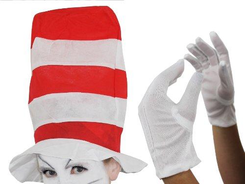 ERWACHSENE ROT & WEIß HOCH GESTREIFTEN HUT + WEIßE HANDSCHUHE CRAZY CAT LUSTIG BUCH WOCHE CHARACTER KOSTÜM ZUBEHÖR EINHEITSGRÖßE (Kostüm Cat Crazy)