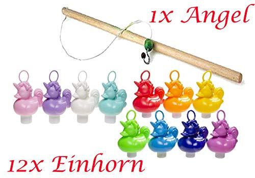 Partynelly 12x Einhorn Enten + 1x Angel zum Einhorn Enten Angeln, 11 Farben, Entenangeln, Angelspiel
