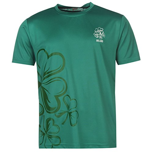 Team Herren Rugby T Shirt Kurzarm Rundhals Regular Fit Freizeit Print Motiv Irland Medium