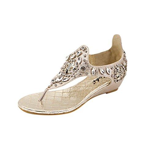 NiSeng Damen Sandalen Strass Schuhe Riemchensandalen Sandaletten Strandschuhe Flip-Flop Sandalen Gold