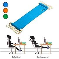 Amazy Fuß Hängematte für extra breite Tische bis 2,00 m – Höhenverstellbare Fußstütze zur Entspannung und Entlastung am Schreibtisch und im Büro (Blau)
