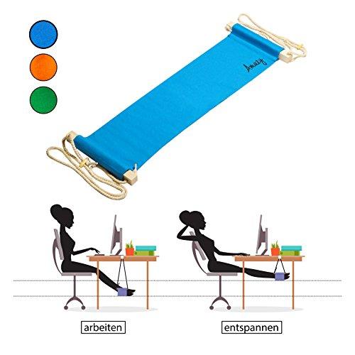 Amazy Fuß Hängematte ? Praktische Fußstütze zur Entspannung und Entlastung im Büro (Blau)