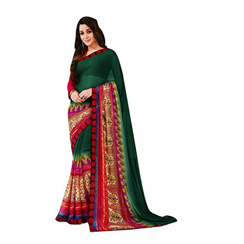 Subhash Sarees Green Color Georgette and Dupion Printed (Floral Print) Saree  available at amazon for Rs.1016