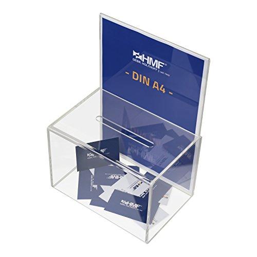 HMF 46916 Scatola di donazioni, Scatola azione, urna per biglietti della lotteria, in acrilico, portadepliant DIN A4