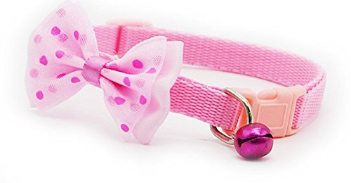 Fly In It Pet Collar Adjustable Bow-Tie Dog Cat Collar with Bell Breakaway Buckle Bowknot (Pink)