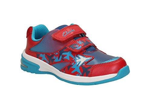 Clarks ragazzi sport out-of-sc Piper Fun Inf sneaker in pelle, in navy Combi Rosso (Rojo - rojo)