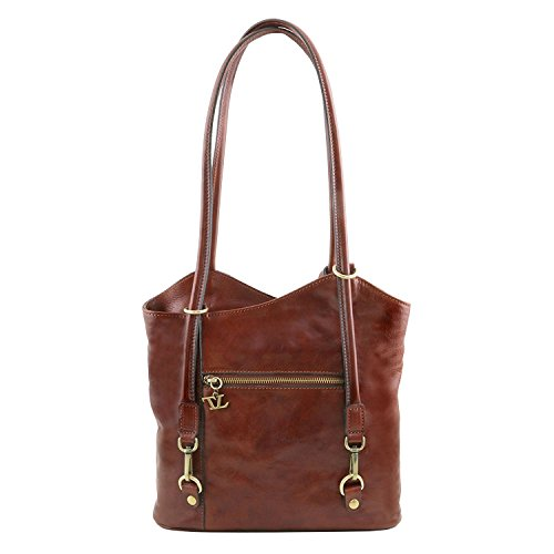 Tuscany Leather Patty - Borsa donna in pelle convertibile a zaino - TL141497 (Testa di Moro) Rosso