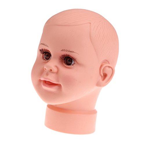 Sharplace Baby Kind Schaufensterpuppe Dekokopf mit Perücke, Mannequinkopf Modellkopf für Kinder Brillen Hüte Mütze