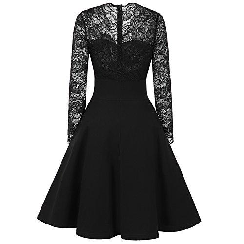 iBaste Il bottone della signora V-neck ha decorato il vestito a sezioni di cucitura a maniche lunghe del merletto Nero