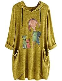 Geilisungren Primavera y Verano Camiseta de Mujer Manga Larga con Capucha Arriba Gato Patrón Imprimiendo Blusa