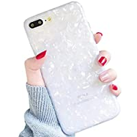 LLZ.COQUE For iPhone 7 Plus iPhone 8 Plus Case, Seashell Marble Pattern Design Shockproof Case Soft Silicone TPU Gel Skin Bumper Cover Ultra Thin Slim Fit Anti-Scratch Girly Back Case - White