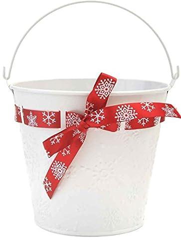 Christmas Bucket Baskets Christmas Baskets Pots Metal Pails Decorative Gifts (16cm White Pail)