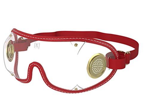 kroops Schutzbrille Original Messing-Brillen komplett mit gratis kroops Schutzbrille Mikrofaser Aufbewahrungstasche, Red Trim