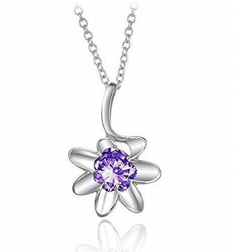 CherriKiss Collar colgante de plata de ley. Flor púrpura. Cristal Swaroski. Sin plomo. Sin níquel. Joyería.