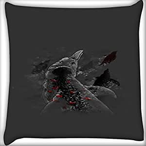 Snoogg Dolphins 16 x 16 Inch Throw Pillow Case Sham Pattern Zipper Pillowslip Pillowcase For Drawing Room Sofa Couch Chair Back Seat