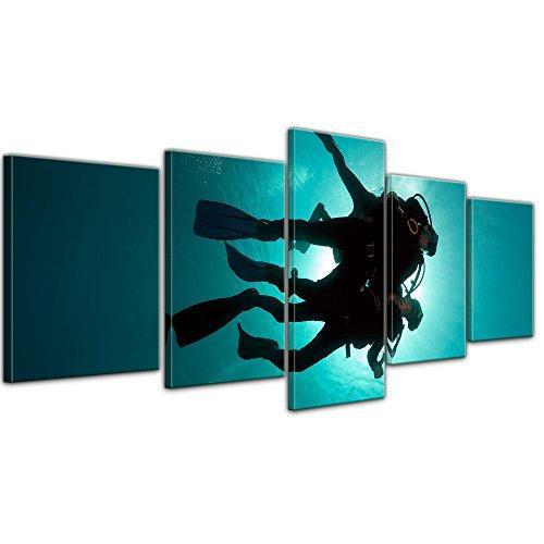 Impression d'art - Plongeur dans la mer Rouge - 200x80 cm 5 pièces - Image sur toile - Vacances, soleil & mer - Égypte - Plongée en mer Rouge