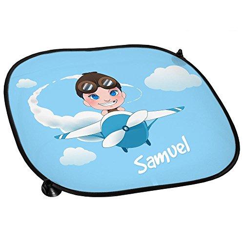 Auto-Sonnenschutz mit Namen Samuel und schönem Motiv mit Pilot und Flugzeug für Jungen   Auto-Blendschutz   Sonnenblende   Sichtschutz