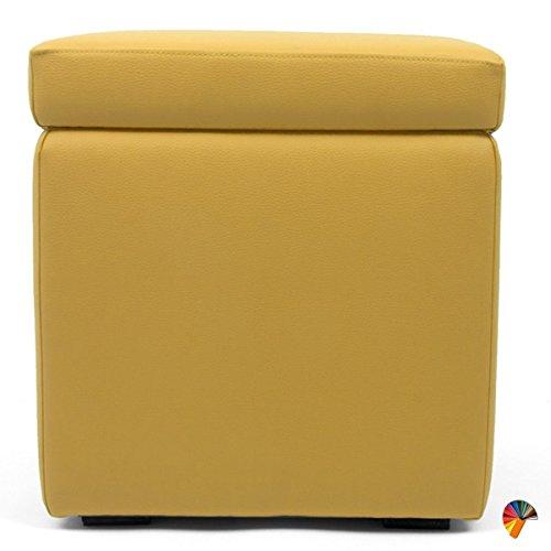 Arketicom pandora puff contenitore ecopelle poggiapiedi design pouf giallo senape