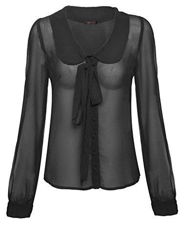 Envy Boutique Donna Pan Colletto Camicetta In Chiffon Pussy Cravatta A Farfalla T-shirt Manica Lunga - Nero, 50