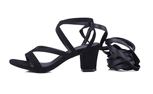 Frauen Open Toe Pump Römische Stil Spitze Leder Sandalen Umreifung High-Heel Stiefel Cross-Strapped 33-43 Black