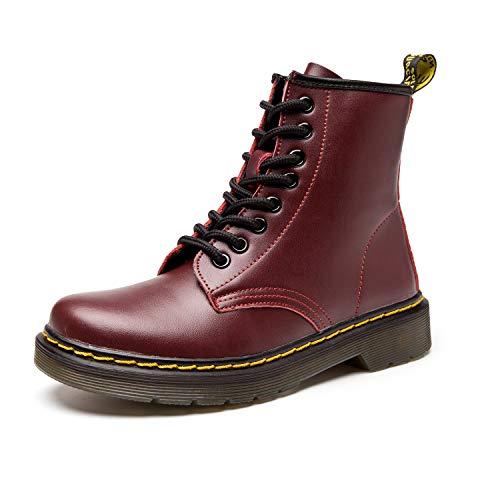 SITAILE Unisex-Erwachsene Bootsschuhe Derby Schnürhalbschuhe Kurzschaft Stiefel Winter Boots für Herren Damen Rot EU41