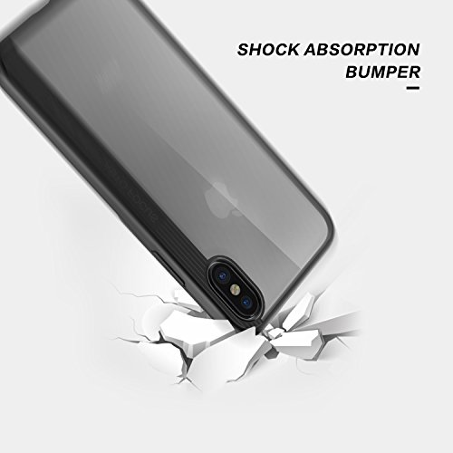 Custodia iPhone X, Basstop 2 in 1 TPU + PC Custodia protettiva traspirante antiurto per iPhone X(Nero)