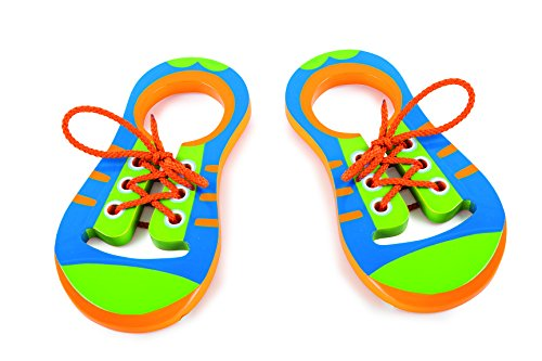 Fädelschuhe aus Holz, 2er Set in farbenfroher Gestaltung, inkl. passender Schnürsenkel, ein linker und ein rechter Schuh üben spielerisch das Einfädeln und Binden von Schnürsenkeln, ab 3 Jahren