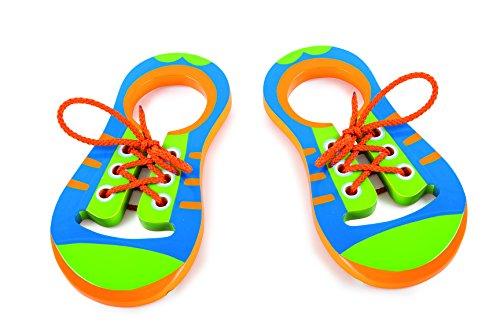 Preisvergleich Produktbild Checklife 904693 Fädelschuhe aus Holz Holzschuhe Schuhe binden Lernen