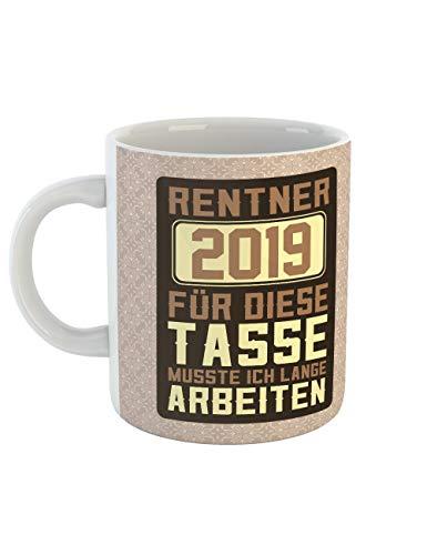 clothinx Ruhestand 2019 Tasse mit Spruch ideal Für Die Verabschiedung Pension Und Rente (Für Geschenke Rentner)