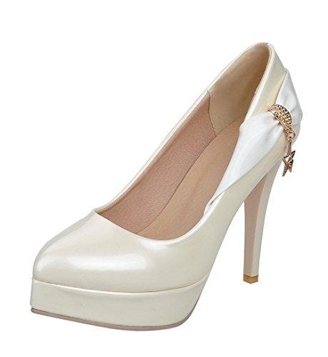 AllhqFashion Damen Hoher Absatz Gemischte Farbe Lackleder Spitz Zehe Pumps Schuhe Cremefarben