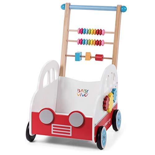 Baby Vivo Trotteur pour Bébé Chariot de Marche Pousseur Activité Marcheur Enfant Jeux Jouet en Bois - Henry