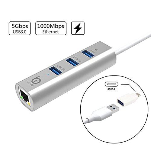 FREESOO 3-Port USB 3.0 Hub mit Gigabit Ethernet-Adapter für Windows- und MACsystem unterstützen OS: WinXP/Vista/7/8/10 oder über, Linux, Mac10.5 oder über