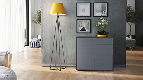 kommode sideboard ben korpus in schwarz matt fronten in. Black Bedroom Furniture Sets. Home Design Ideas