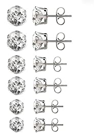 Mannli 6 Pairs Stainless Steel Round Ball Stud Earrings Set for Womens Mens,3-8mm
