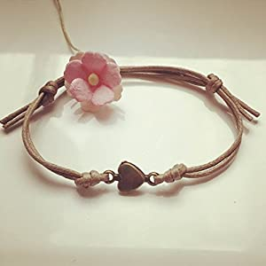 Herz Armband in Beige Bronze Größenverstellbar, Liebe / heart / love / vintage / ethno / hippie / must have / statement / florabella schmuck