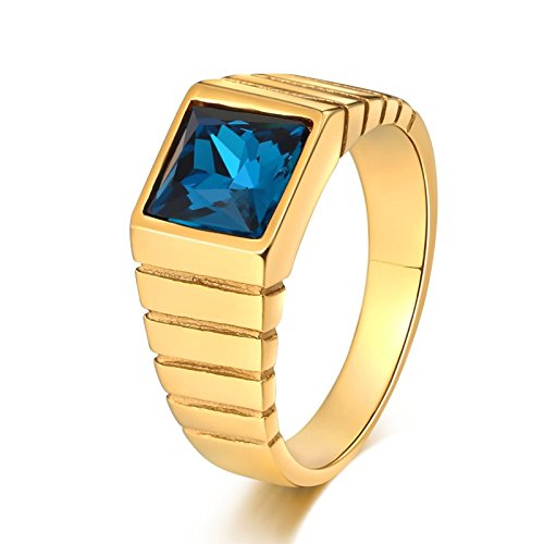 Blisfille Gold Ring Herren Gold Ring Jugendstil Gothic Punk Herren Ring Blau Blauer Zirkonia Quadrat...