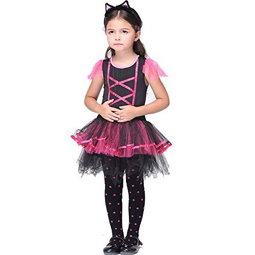 XDXDO Halloween Kinder Deluxe Midnight Cat Kostüm, Kleid Cosplay Tail Und Cat Ear Stirnband Girl Masquerade Performance - Girls Deluxe Bösen Kostüm