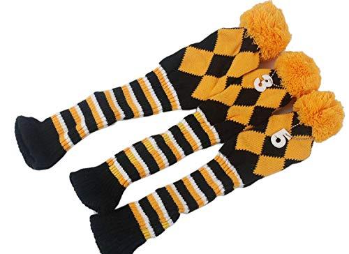mamimamih 3/Set Golf Club Argyle Knit Head Covers Schlägerhaube Vintange Pom Pom Socke umfasst die 1-3oder 5Für Treiber & Woods (gelb/schwarz/weiß) (Treiber Socke)