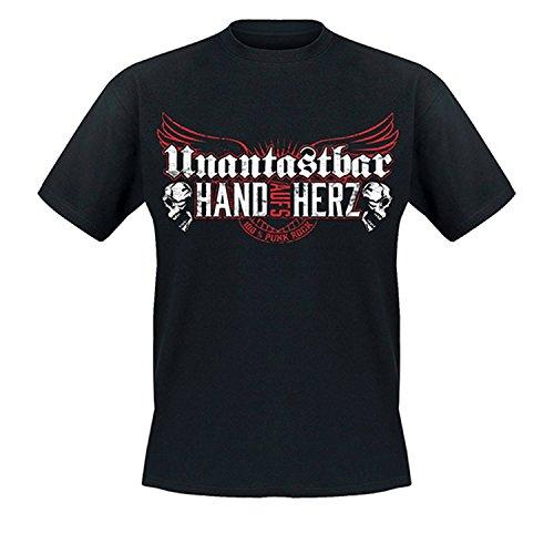 """Unantastbar - \""""Hand aufs Herz\"""" T-Shirt, Farbe: schwarz, Größe: XL"""