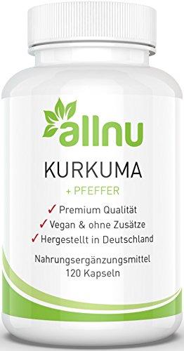 Kurkuma Kapseln Vegan - Hochdosierte Curcuma Extrakt Capsules von Allnu - MADE IN GERMANY für Qualität im Spitzenbereich (120 Kapseln)