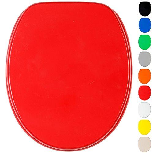 Sedile WC, grande scelta di belli sedili WC uni, da legno robusto e di alta qualità (Rosso)