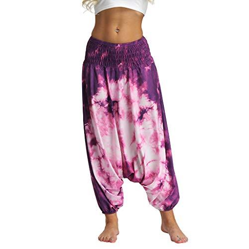 Watopi Männer Frauen Haremshose Beiläufige Lose Sommerhose Pumphose Hippy Yoga Hose Baggy Boho Aladdin Pants