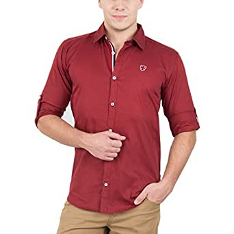 GHPC Men's Cotton Casual Shirt(CS62256_Red_40)