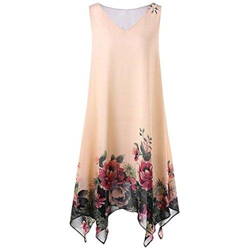 Luckycat Sommer Elegante Damen Frauen Plus Size Blumendruck Chiffon Sleeveless Unregelmäßige Beiläufige Tägliche Party Strand Urlaub Hem Minikleid