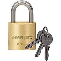 STANLEY Cadenas laiton solide 20 mm anse standard, 3 clés, S742-028