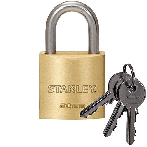 STANLEY Solid Brass Vorhangschloss 20 mm mit Standard-Bügel,  3 Schlüssel,  S742-028, Schloss, Bügelschloss