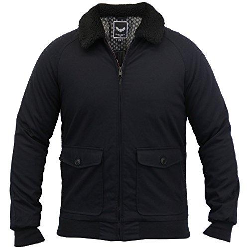 Herren Sherpa-fleece Kragen Fliegerjacke Gesteppt Gepolstert Gefütterter Mantel By Brave Soul Marineblau - HANNINGTONP