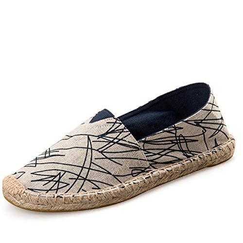 Jessica Simpson Espadrille (Mens Espadrilles Men Patchwork Slip On Summer Shoes Men Loafers 2019 Breathable Canvas Men Shoes Fashion Jute Wrapped Graffiti blue2 8.5)