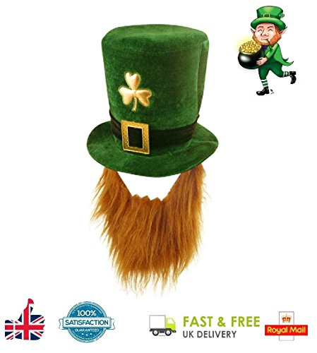 Deluxe Irish Shamrock Hat With Beard St. Patrick's Day Novelty Fancy Dress Lucky UK by - St Patricks Fancy Dress Kostüm