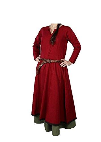 Larp Kostüme Für Frauen (Schlichtes Mittelalterkleid Dunkelrot/Braun S-XL LARP Kleid Mittelalter Kostüm Wikinger)